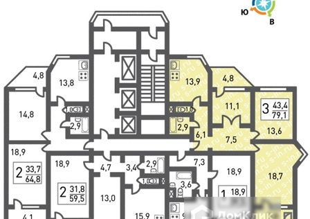 Продаётся 3-комнатная квартира, 79.2 м²
