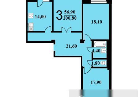 Продаётся 3-комнатная квартира, 100.8 м²