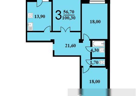 Продаётся 3-комнатная квартира, 100.3 м²