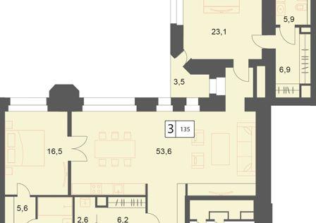 Продаётся 3-комнатная квартира, 135.1 м²
