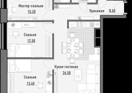 Продаётся 3-комнатная квартира, 86.22 м²