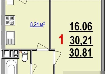 Продаётся 1-комнатная квартира, 30.81 м²