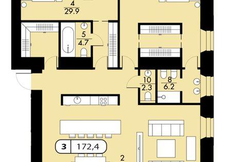 Продаётся 1-комнатная квартира, 169 м²