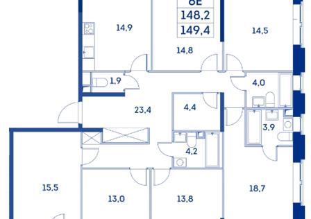 Продаётся 5-комнатная квартира, 148 м²