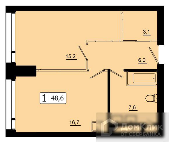 Продаётся 1-комнатная квартира, 48.6 м²