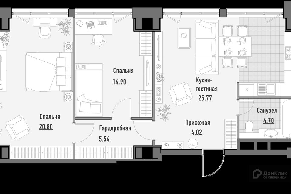 Продаётся 3-комнатная квартира, 75.39 м²