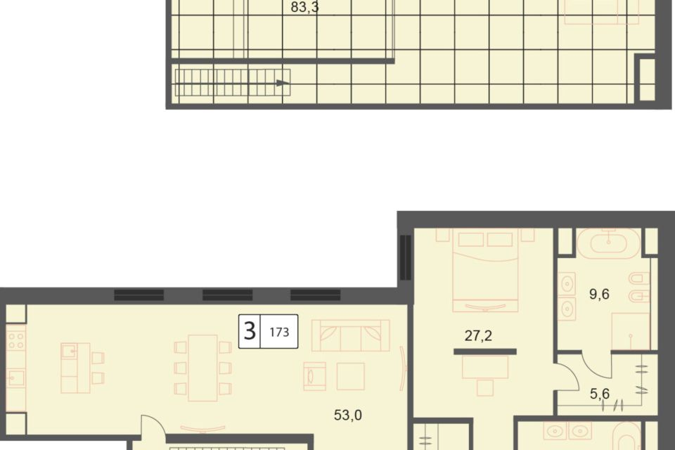 Продаётся 3-комнатная квартира, 173.2 м²