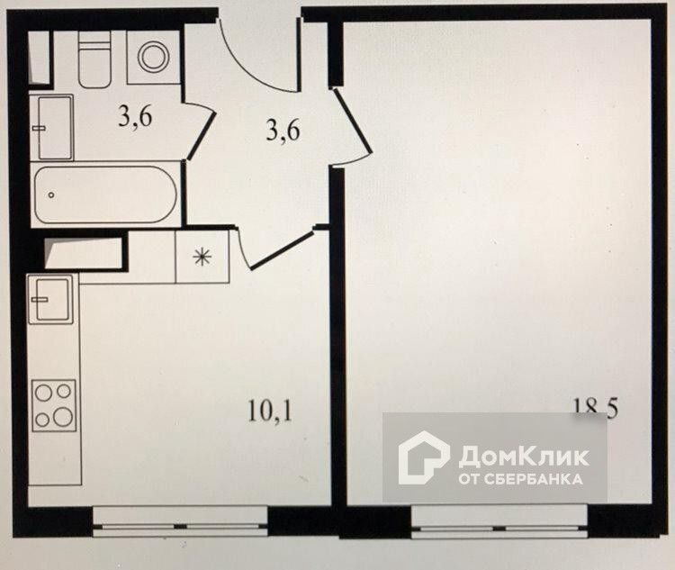 Продаётся 1-комнатная квартира, 35.8 м²
